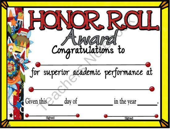 Honor Roll Certificate 5 from A Teacher in Paradise on ...