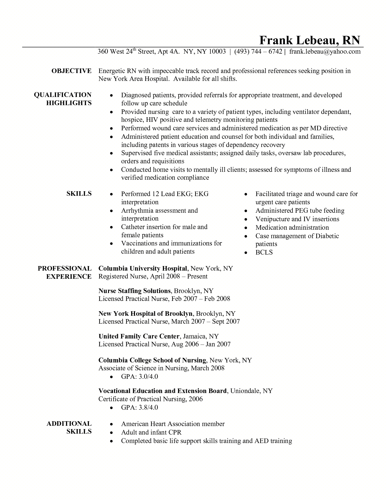 Resume For Triage Nurse o
