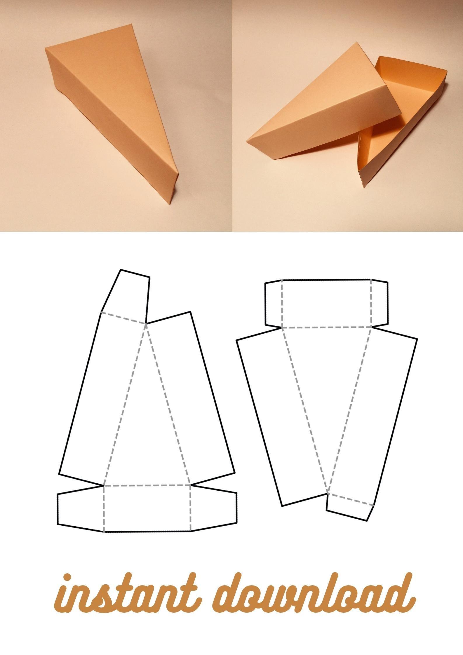 Photo of Cake slice box template, slice of cake box, triangle box, triangular box, SVG, PDF, Cricut