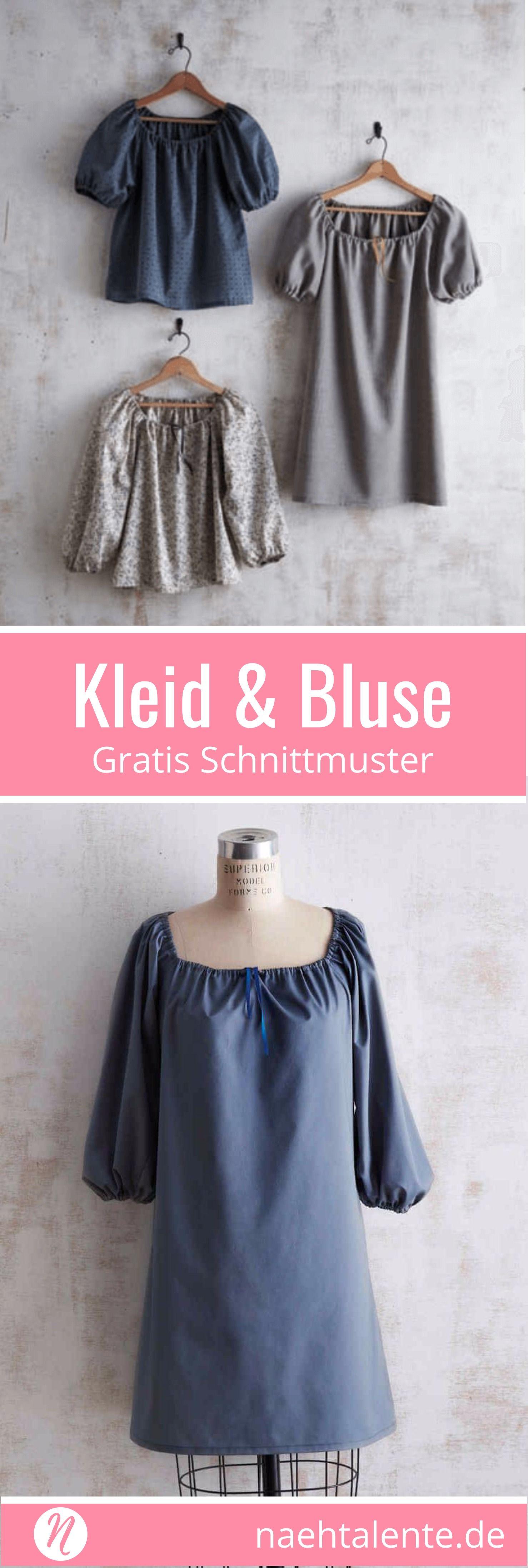 Kleid und Bluse mit gerafftem Ausschnitt | Gratis schnittmuster, Für ...
