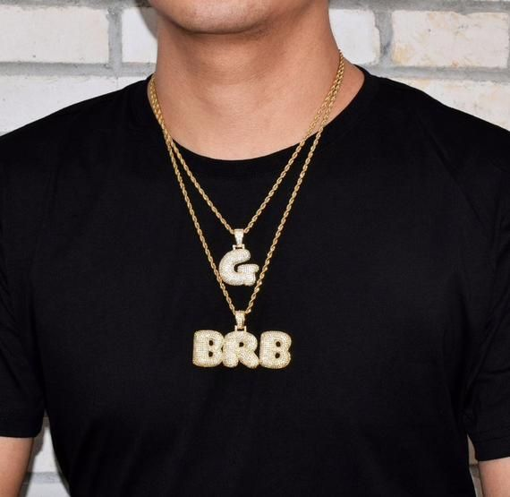 Iced Out Bubble Letter Name Necklaces Initials 18K Gold Plated Custom Necklace For Men
