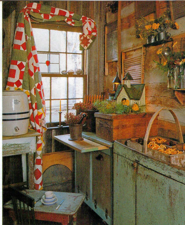 Log Cabin Kitchen Decor: Primitive Gatherings Log Cabin Kitchenold Quilt The Window