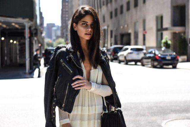 Love it all via Haute Inhabit & #Burberry . The hair, the jacket, the dress. #motojacket