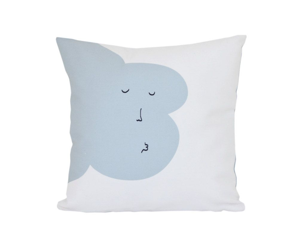 Kisses Good Night Throw Pillow blue Cloud