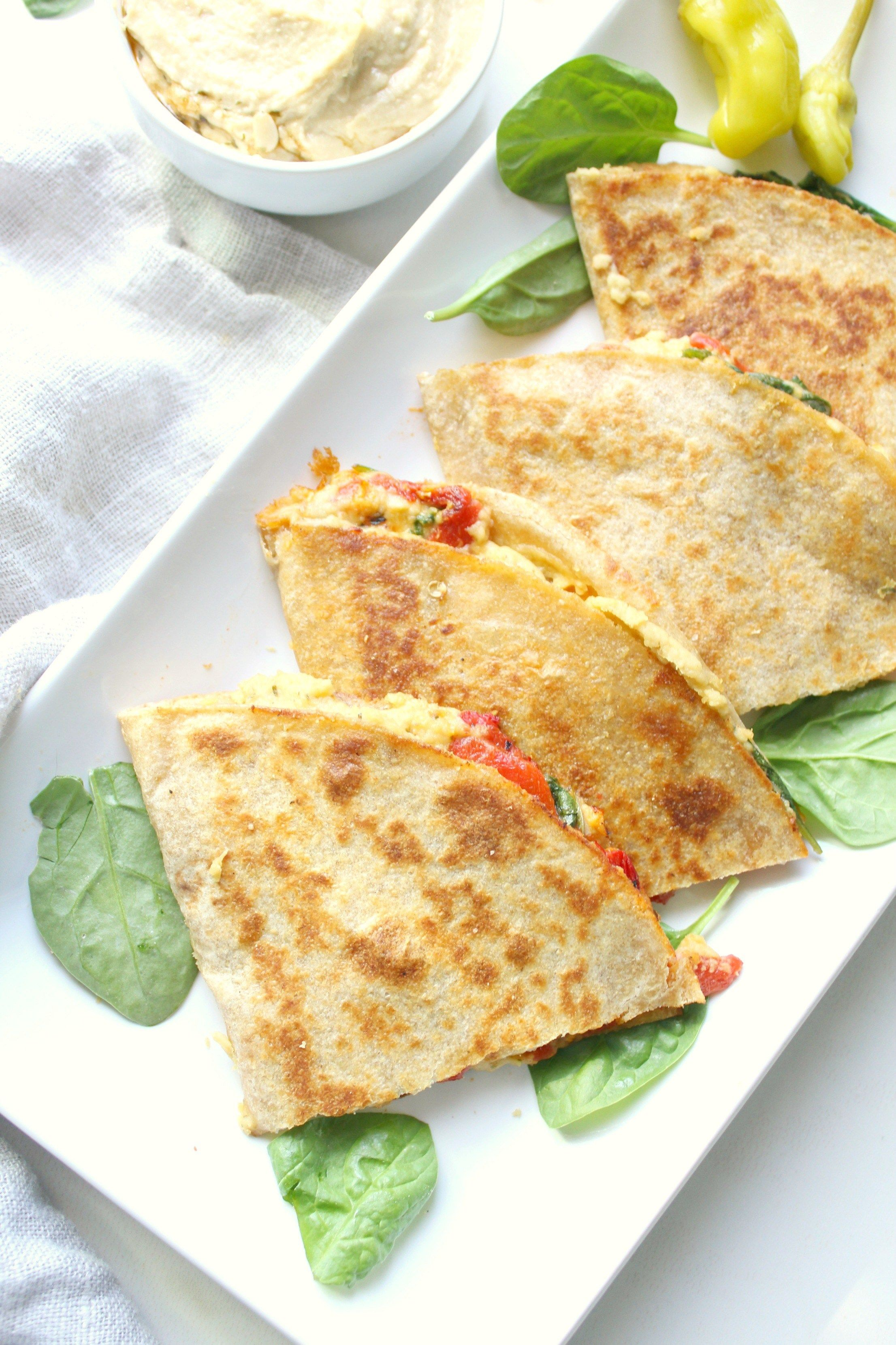 Simple Vegan Hummus Quesadillas
