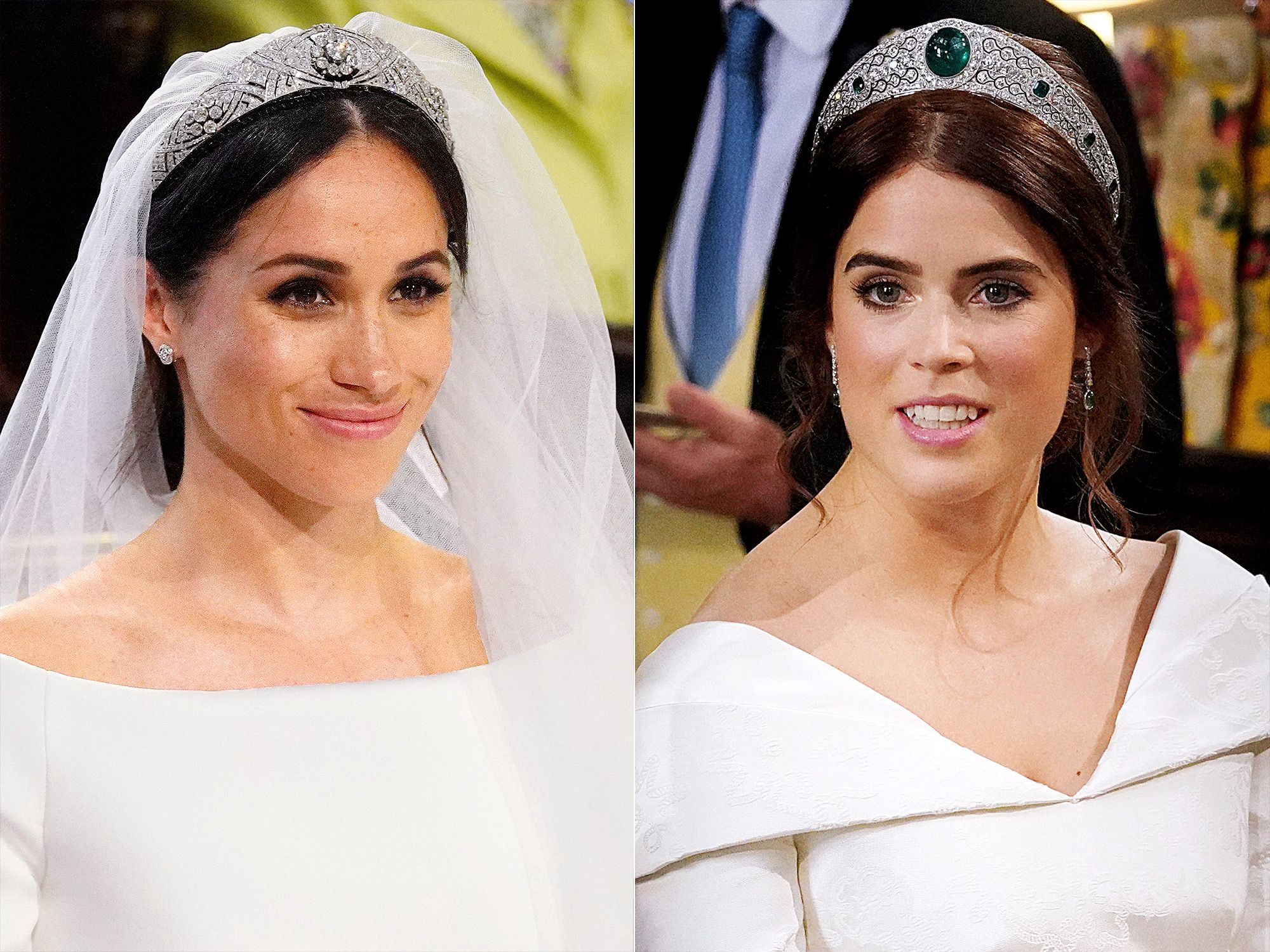 Princess Eugenie And Meghan Markle S Wedding Tiaras Have One Major Thing In Common Royal Wedding Dress Royal Brides Princess Eugenie