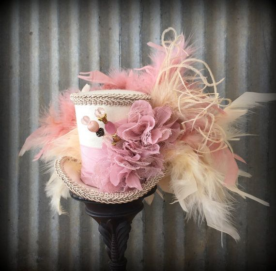 Mini Top hat Pink, Blush hat, Alice in Wonderland, Mad Hatter Hat ...
