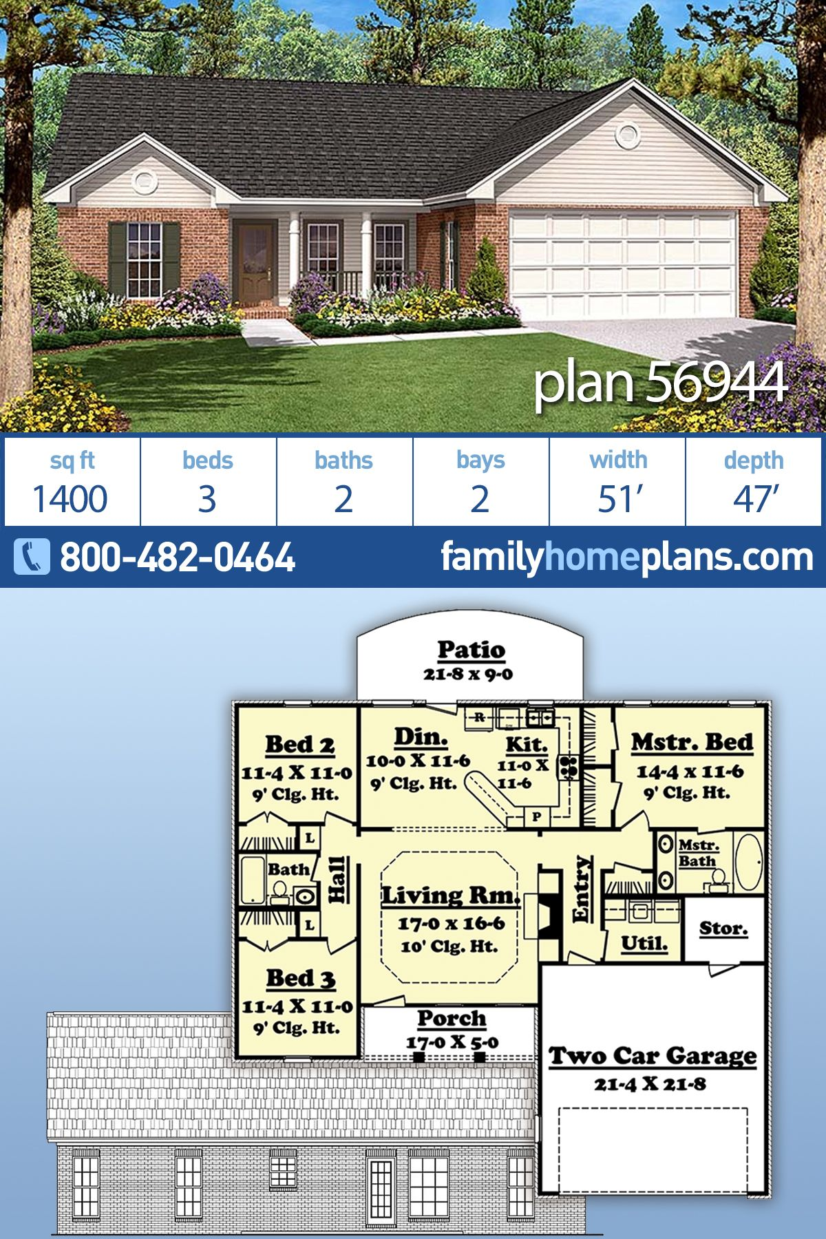 Traditional Style House Plan 56944 With 3 Bed 2 Bath 2 Car Garage Ranch House Designs House Plans Farmhouse House Plans