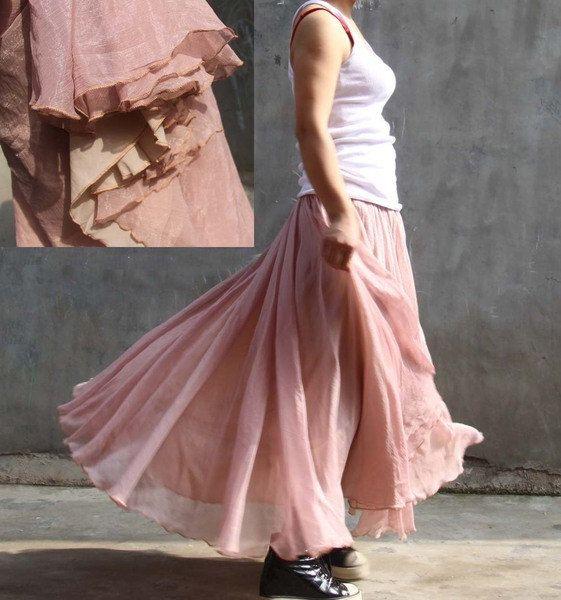 chiffon maxi skirt---golden pink skirt long skirt pleated skirt autumn skirt winter skirt winter dress. $48.00, via Etsy.