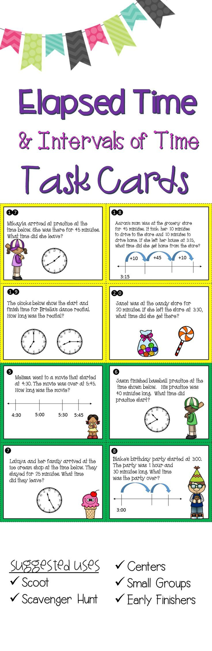 worksheet Subtracting Time elapsed time task cards teks 3 7c 4 8c ccss mda 1 math 1