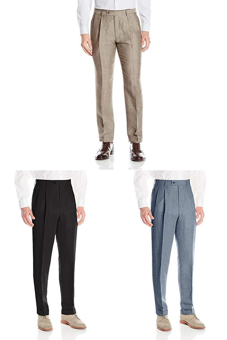 138956f8ff1 Louis Raphael Men s Linen Blend Pleated Straight Fit Dress Pant