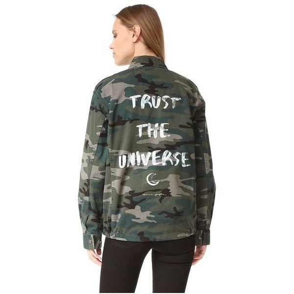 Spiritual Gangster Trust the Universe Army Jacket ($150) ❤ liked on Polyvore featuring outerwear, jackets, camo print, camoflauge jacket, military jacket, military inspired jacket, military camo jacket and military field jacket