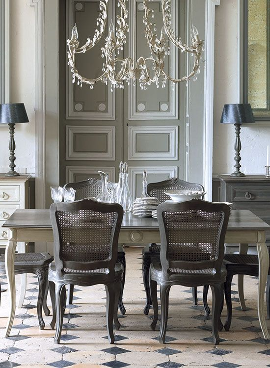 Elegant gray dining room traditional style living room for French style dining room furniture