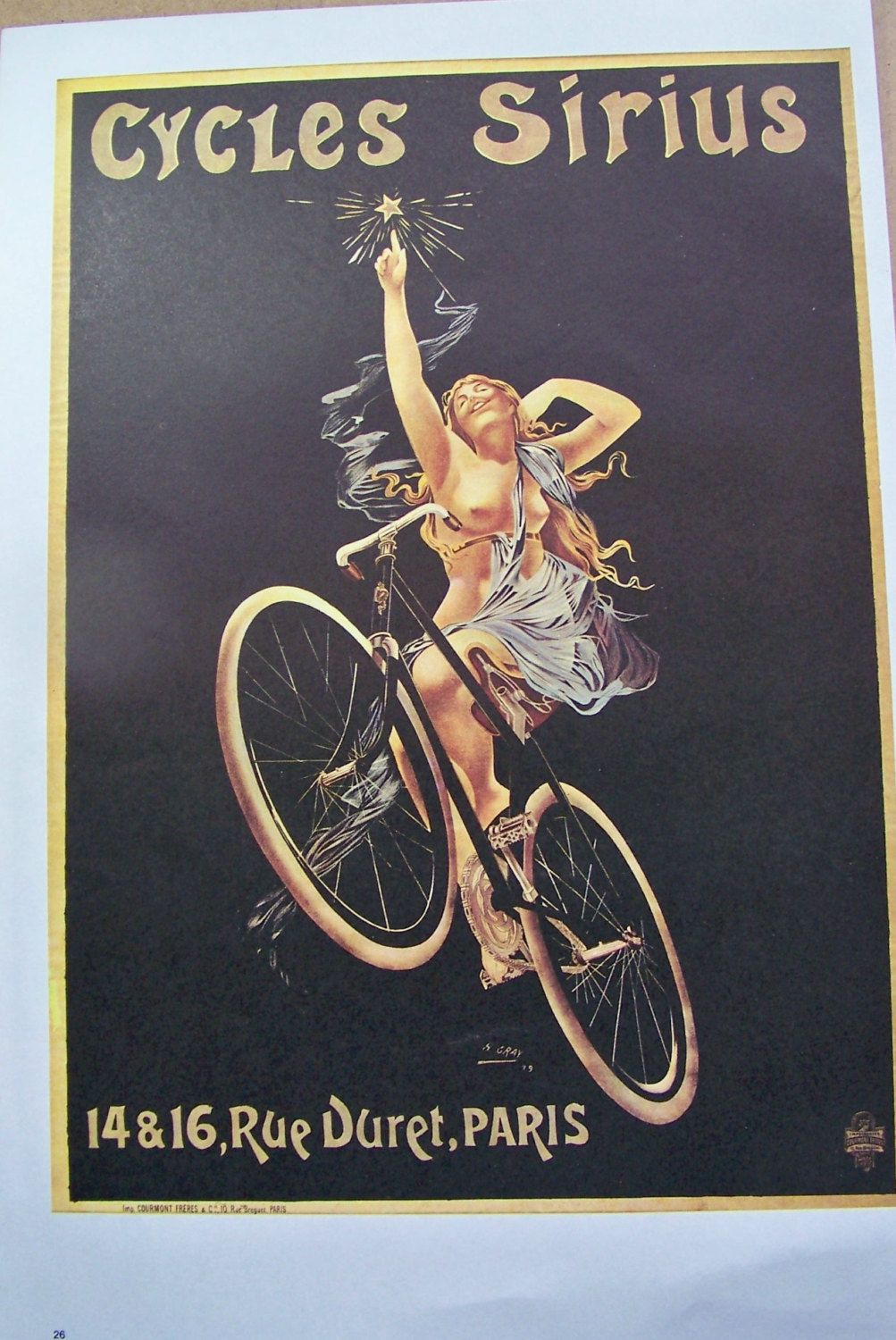 """18x24 /""""Cycle Gladiator/"""" Classic 1895 Art Nouveau Classic Bicycle Poster"""