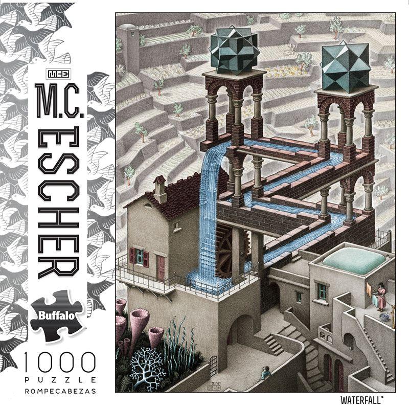 M C Escher Waterfall 1000 Piece Jigsaw Puzzle Mcescher Buffalogames Iamapuzzler Jigsawpuzzl Illusion Kunst Zeichnung Optische Tauschung Optische Tauschung