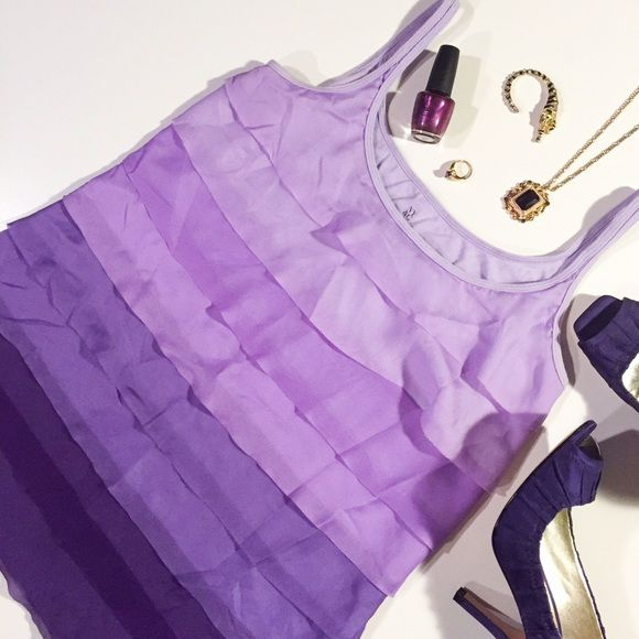 New York & Company Purple Ombre Ruffled Tank This adorable ruffled tank has a bright purple Ombre design. Lightly worn. Other items for sale in cover shot include Guess Purple Heels. OFFERS AND BUNDLES WELCOME! New York & Company Tops Tank Tops