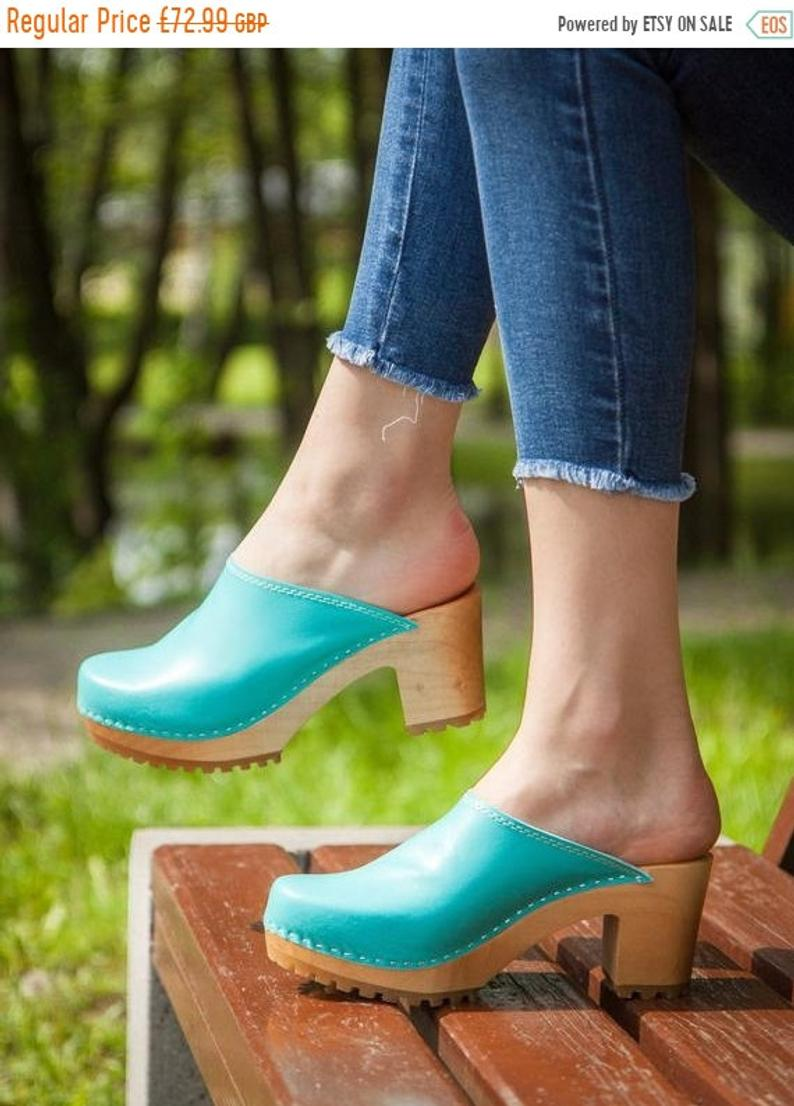 Heel clogs Summer women shoes New leather clogs Leather shoes High heel shoes Leather women shoes Swedish clogs Women moccasins Women mules