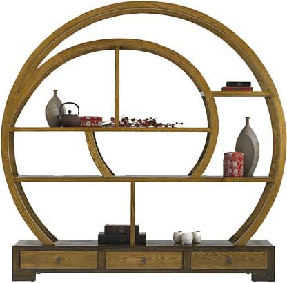 The ellipse bookcase is made up of hard tough elm tree wood and
