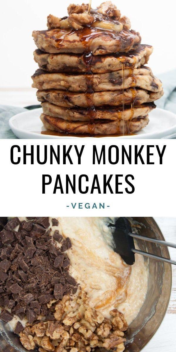Vegan Chunky Monkey Pancakes with banana, chocolate, peanut butter, and walnuts | ElephantasticVegan.com #vegan #pancakes #chunkymonkey #banana #chocolate #peanutbutter #walnuts #peanutrecipes