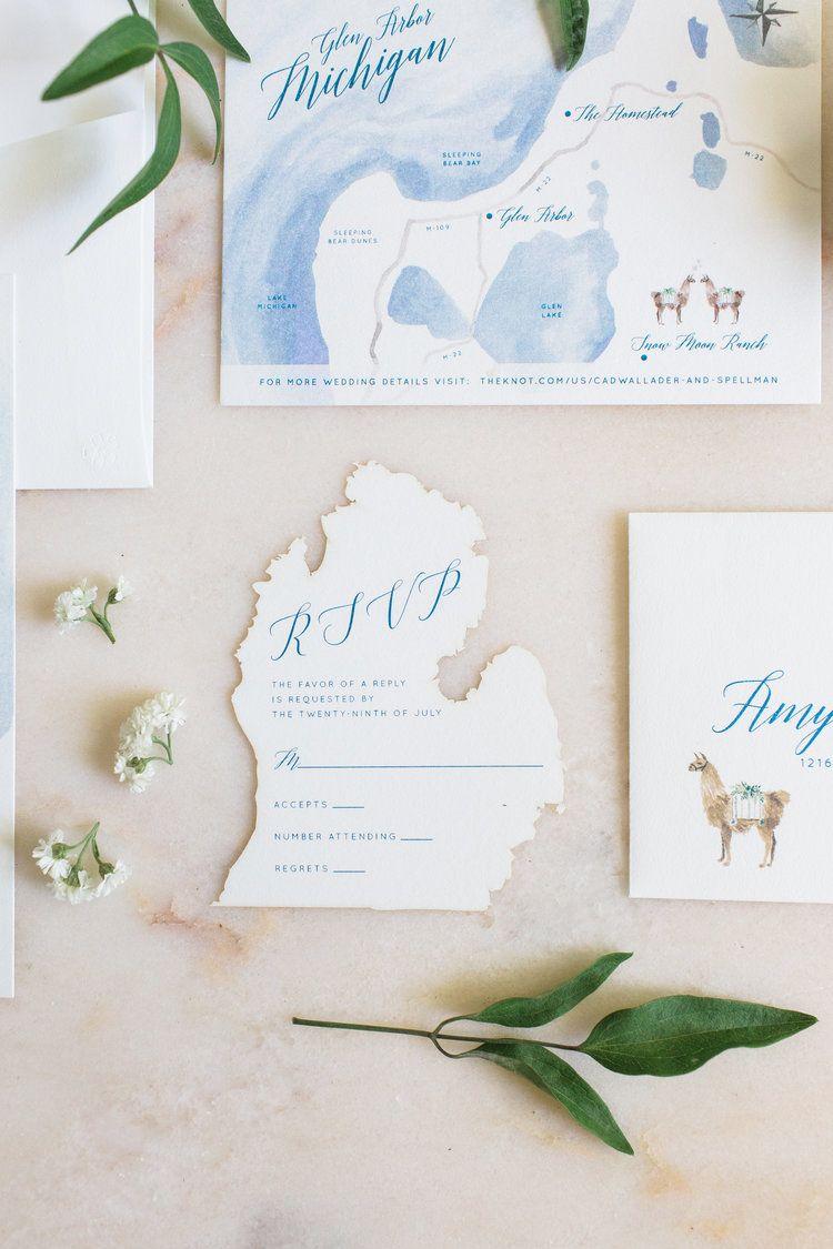 Custom Wedding Invitation Design Hand Painted Watercolor Map Of Leelanau Peninsula