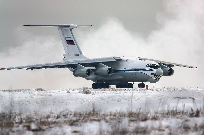 Winter Flying of Russian Aircraft. Just some Russian planes taking off and flying up in the cold winter sky.