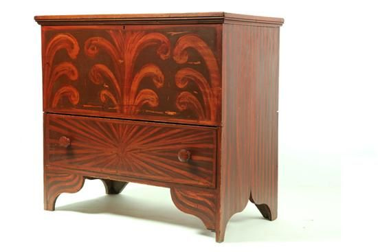 Decorated Mule Chest Wooster Ohio Mid 19th Century