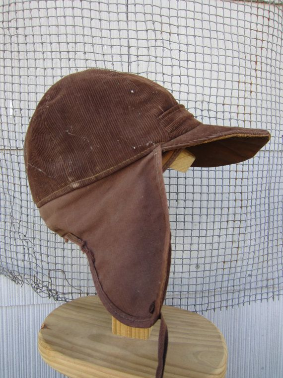 5d8308fbb140a 40s Brown Corduroy Fudd Hat    Vintage Winter Hunting Cap