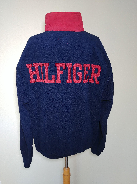 57dd0dae Vintage 90's Tommy Hilfiger Pullover Fleece Sweater / Huge Spell-Out  Hilfiger Hip Hop Rap
