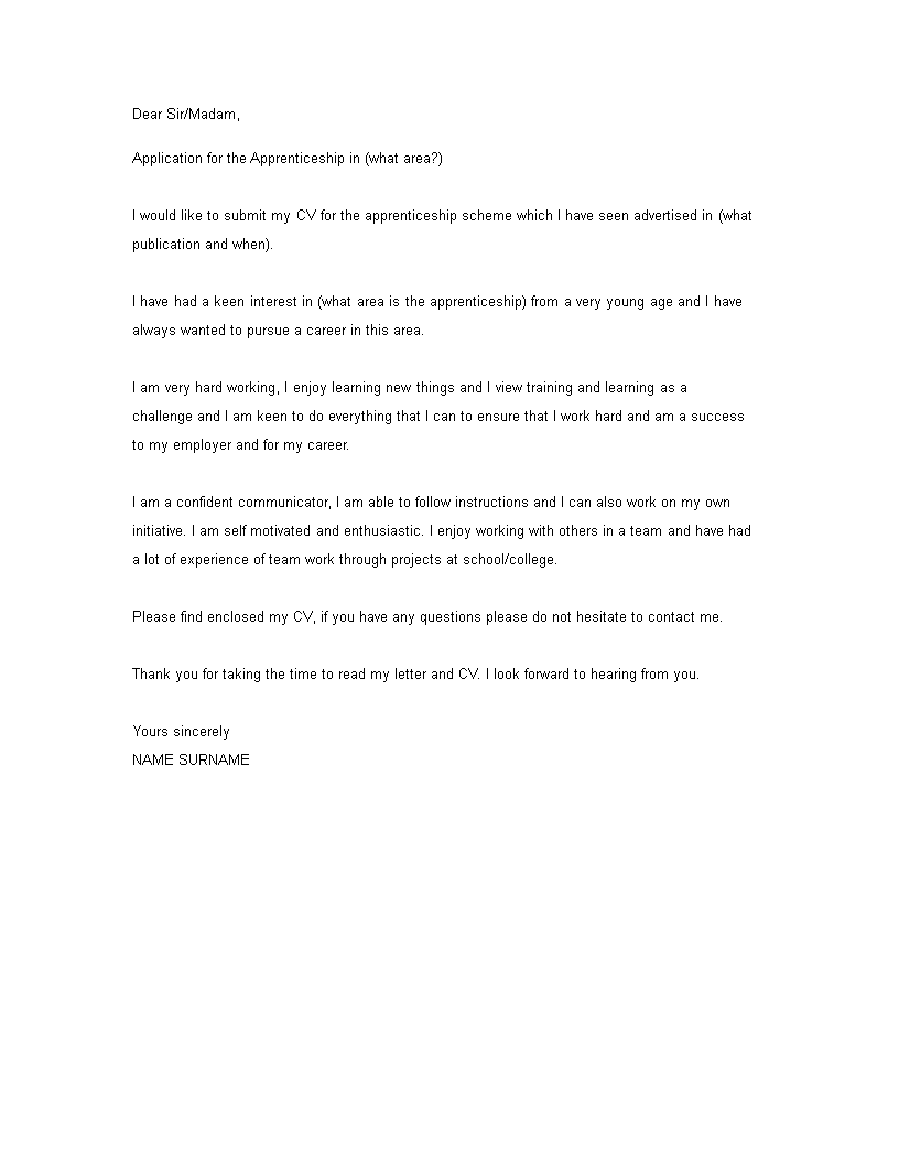 engineering apprenticeship cover letter  how to write an
