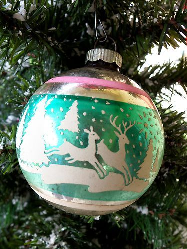 vintage shine brite stenciled christmas ornament 2 reindeer pastel ebay - Ebay Vintage Christmas Decorations
