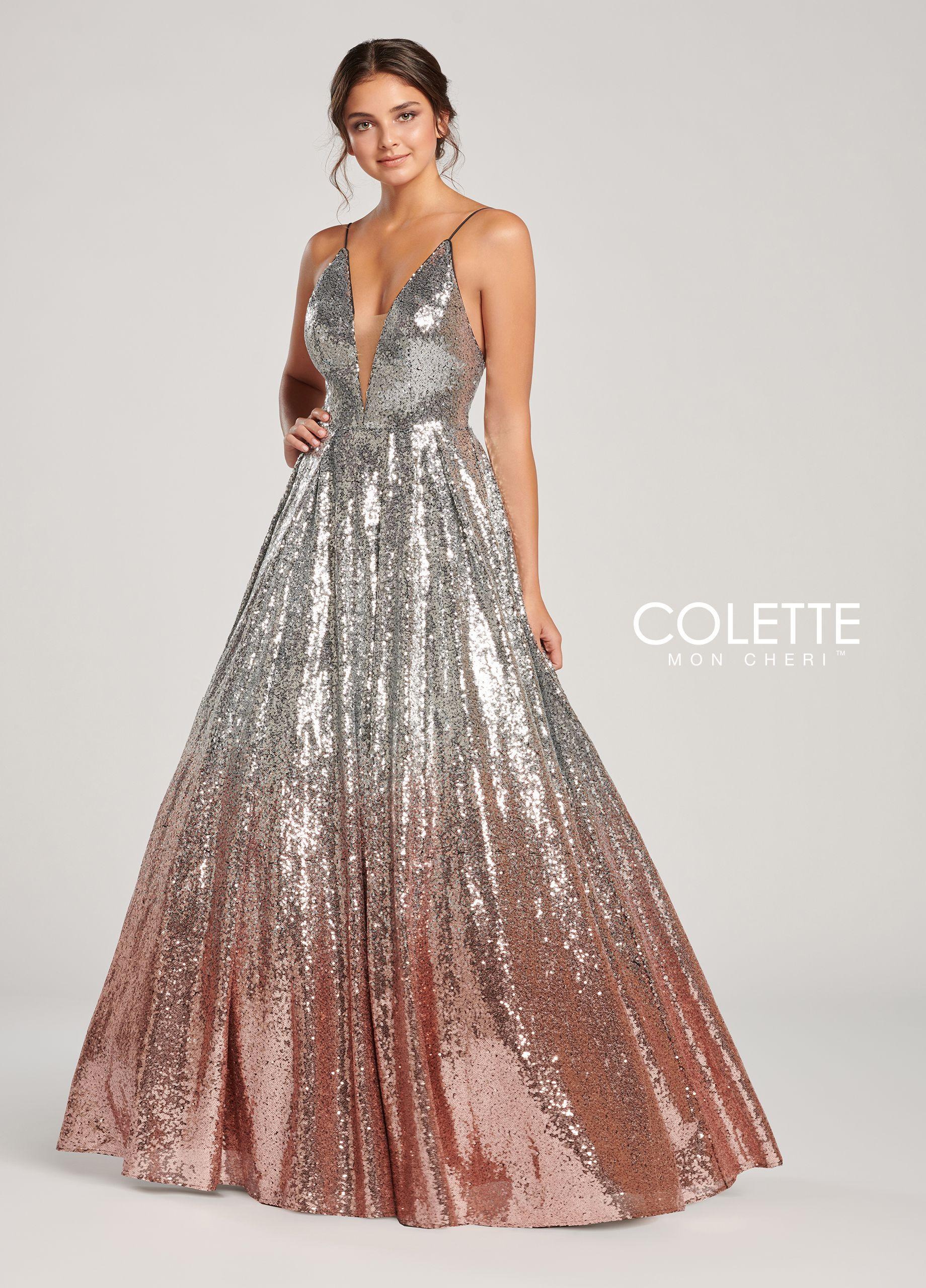 e563acc183b Colette for Mon Cheri CL19872 - Strapless sequin ballgown with a plunging  illusion v-neck