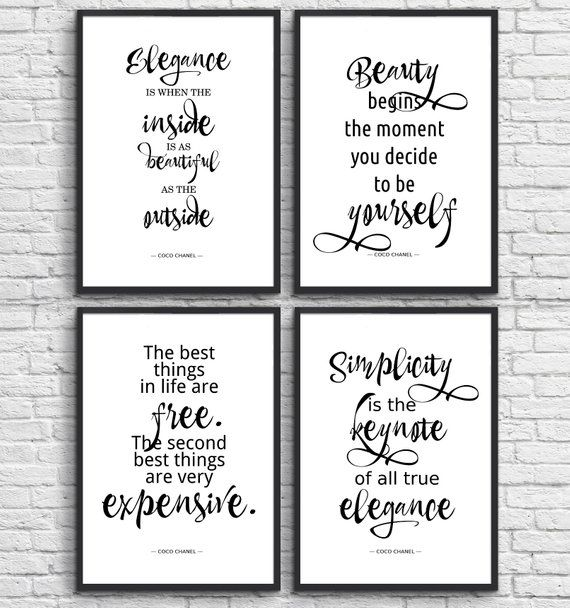 Inspired By Chanel Quotes Prints Set