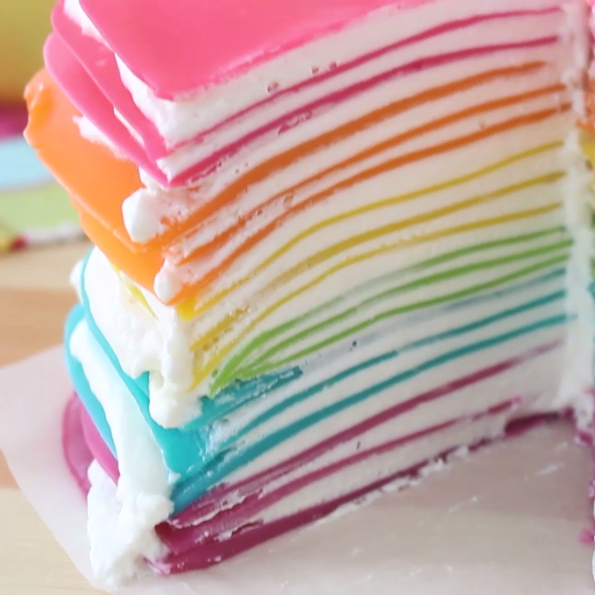 Rainbow Crêpe Cake Wake up happy with this Rainbow