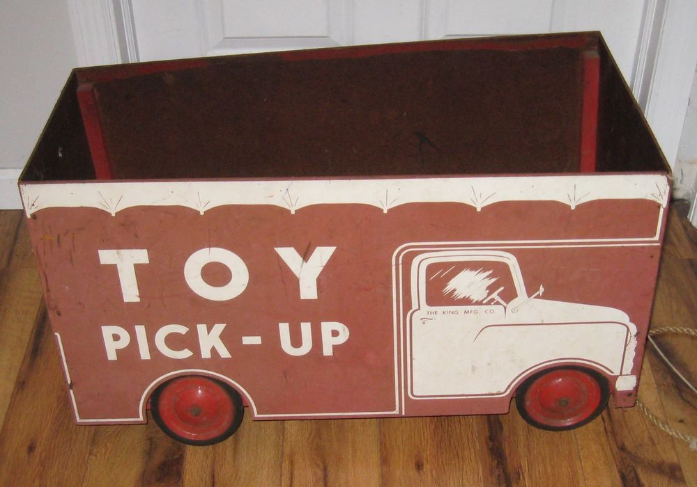 Vintage 1940s 1950s Truck Toy Chest Pick Up Wheels Rare King Mfg Toy Chest Toy Trucks Toys