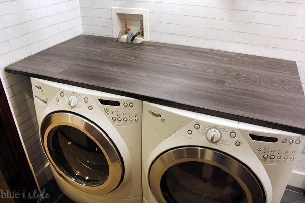 Diy Wood Plank Laundry Room Countertop Laundry Room