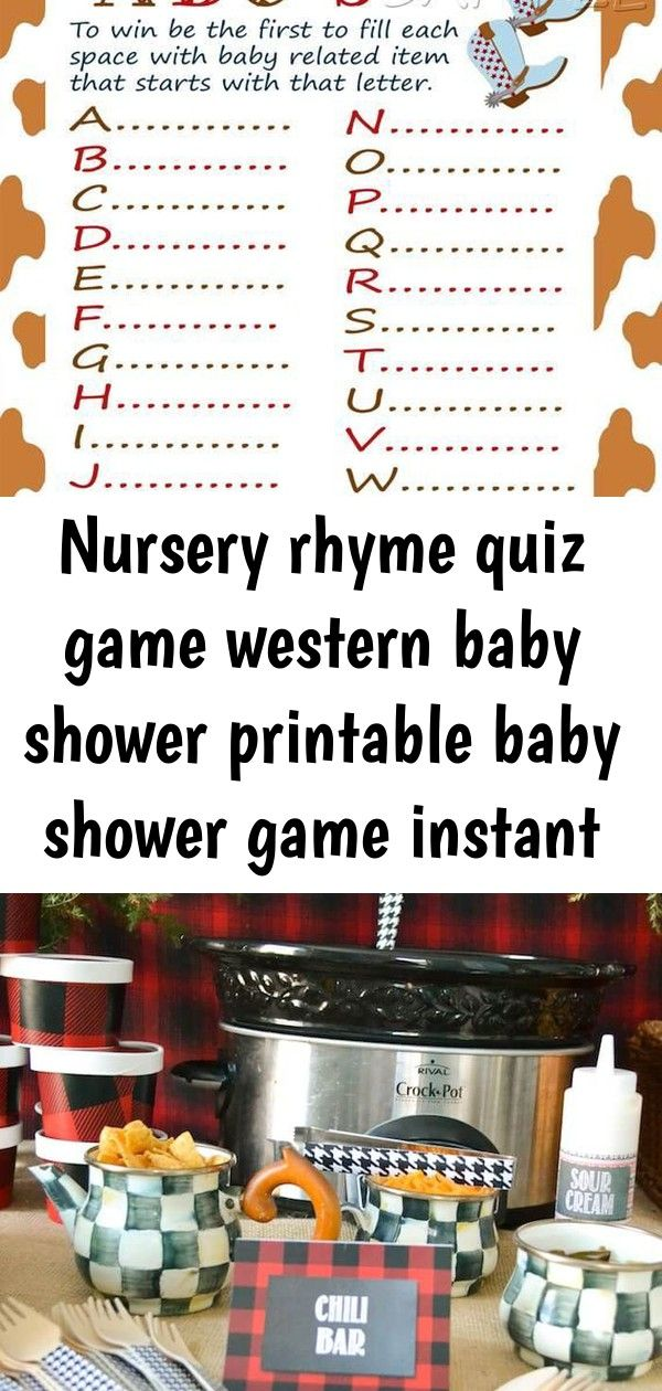 Nursery rhyme quiz game western baby shower printable baby shower game instant download 3 #chilibar