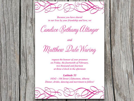 Whimsical Swirl Wedding Invite Microsoft Word Template Fuchsia Blank wedding invitation
