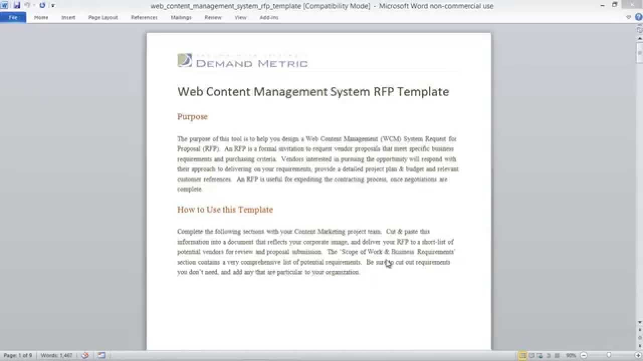 RfpTemplateWritingTheRequestForProposalRfp By Mike Via