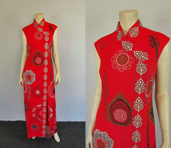 Vintage 70s Alfred Shaheen Maxi Dress Asian by CkshopperVintage