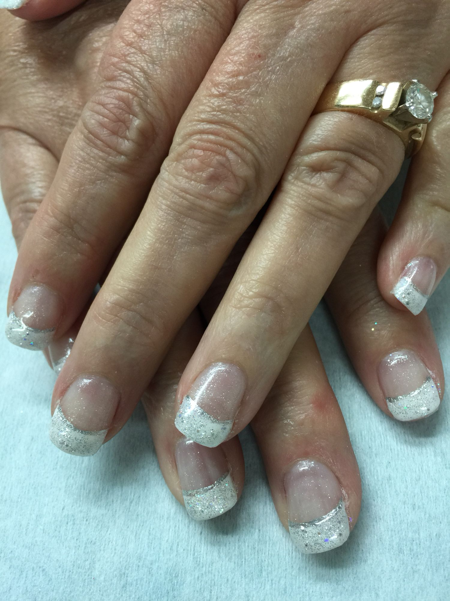 Super Sparkly Wedding Mother Of The Bride White French Gel Polish Over Non Toxic Odorless Hard
