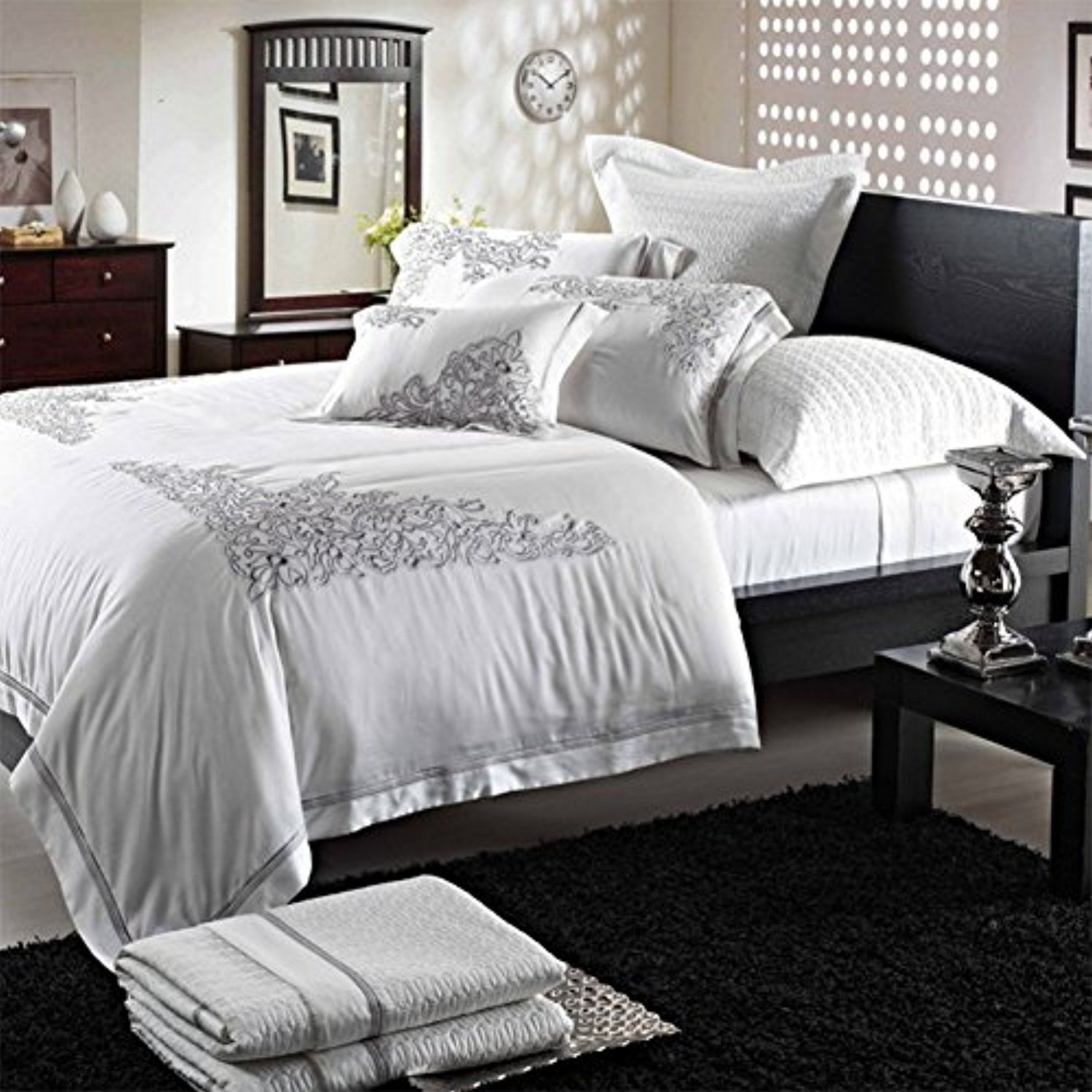 silk 4 Piece double bed sheet quilt cover