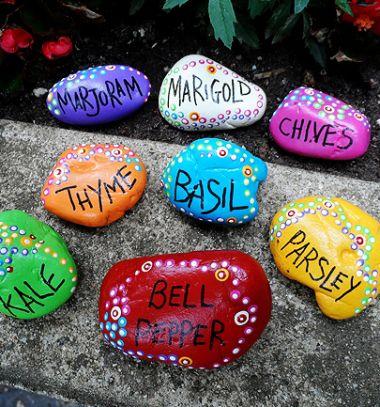 DIY Painted rock garden markers  // Ültető tábla kavicsból - kreatív kerti növény jelölő // Mindy - craft tutorial collection