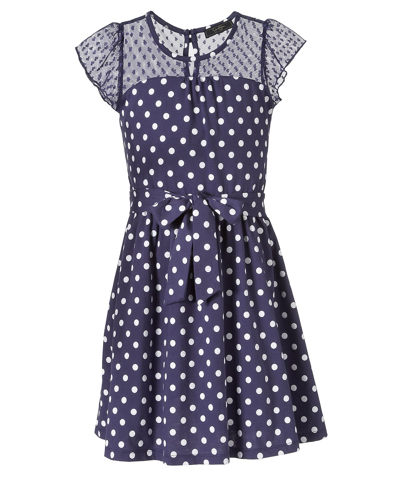 Jessica Simpson Girls Dress, Girls Flutter-Sleeved Dot Dress - Kids ...