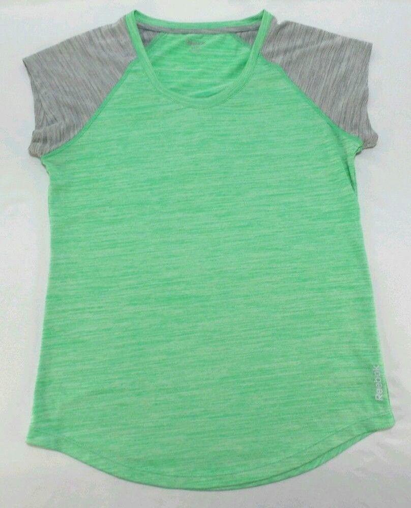 7a56deec5bc2 Reebok Womens Athletic Workout Top Shirt Mint GRN Grey Short Sleeve Size M