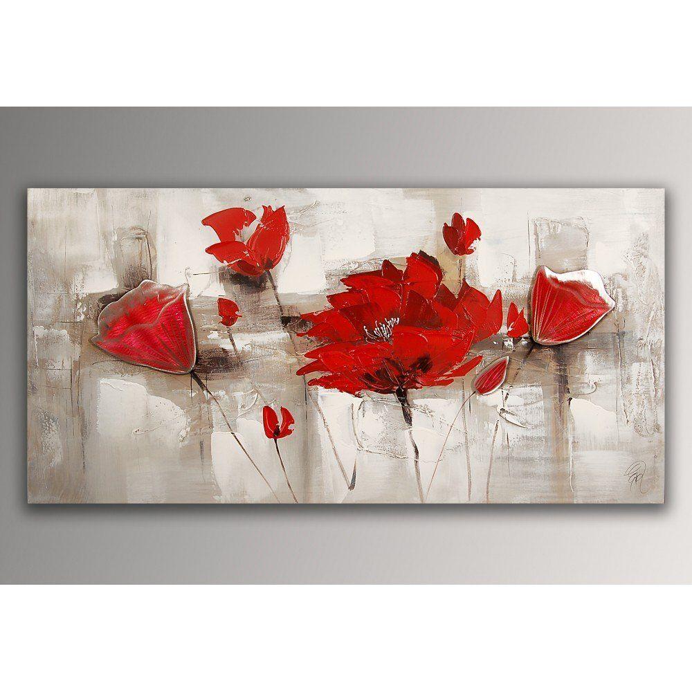 Coquelicots rouges tableau floral modern peint à la main sur toile