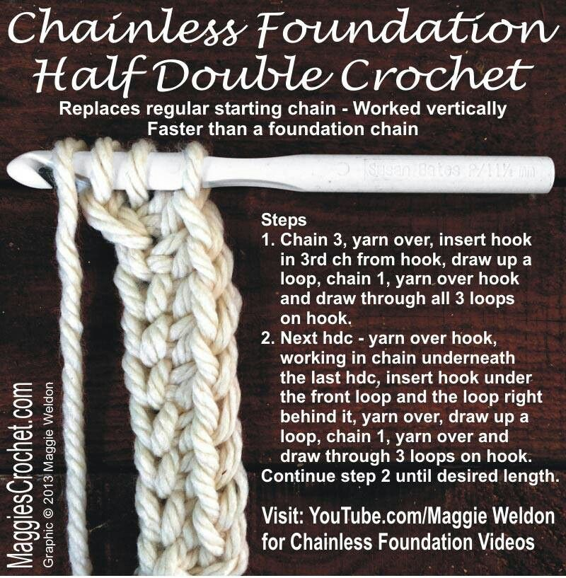 Chainless foundation Crochet Stitches & Techniques ...