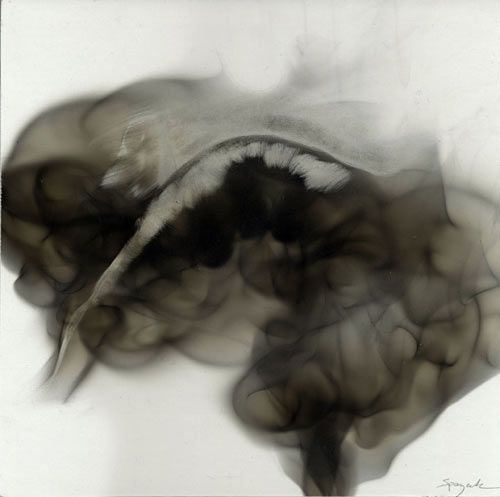 Steven Spazuk- painting created with trails of soot from a candle flame