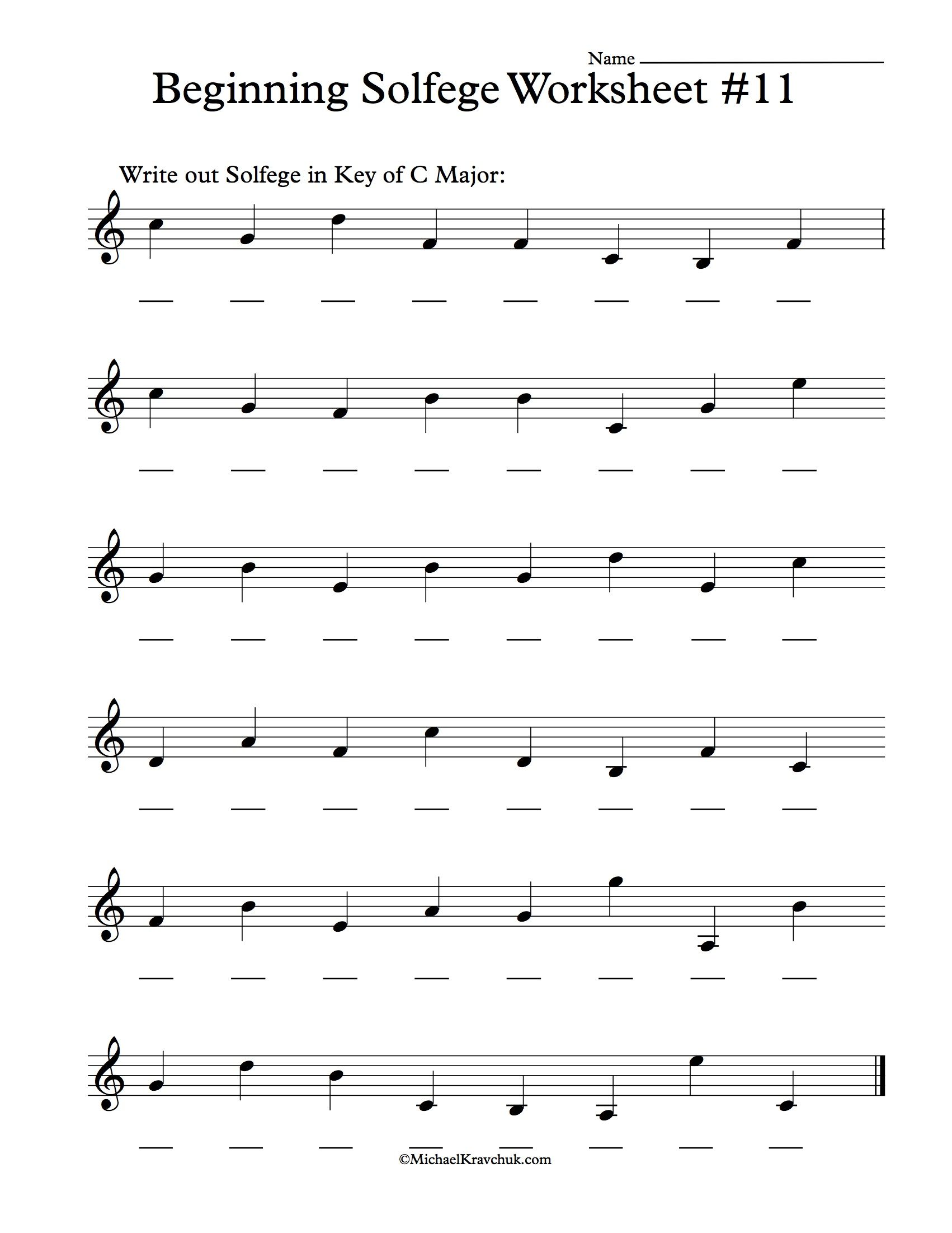 Beginning Solfege Worksheet 11 For Classroom