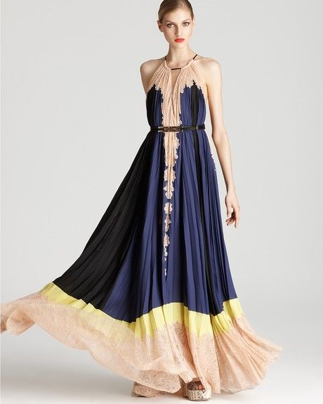 4ae532293f98 Bcbgmaxazria Pleated Color Block Lace Hem Maxi Dress in Blue (blue depth) -  Lyst
