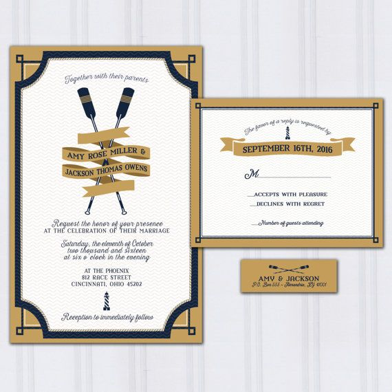 Nautical Wedding Invitations, Oars Invite Set, Navy Blue